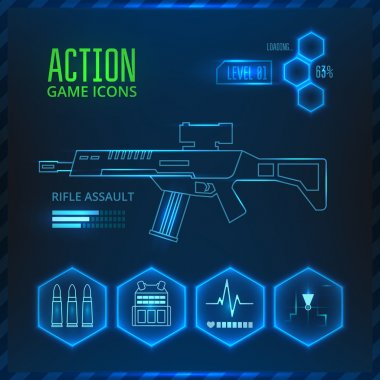 Set of vector icons for a game in the genre of shooter or action. On a blue background with glowing elements. stock vector