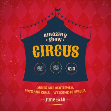 Poster for the circus. Silhouette circus tent. Vector stock vector