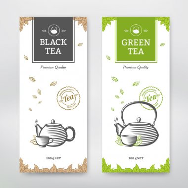 Black and Green Tea design package. Vector set stock vector