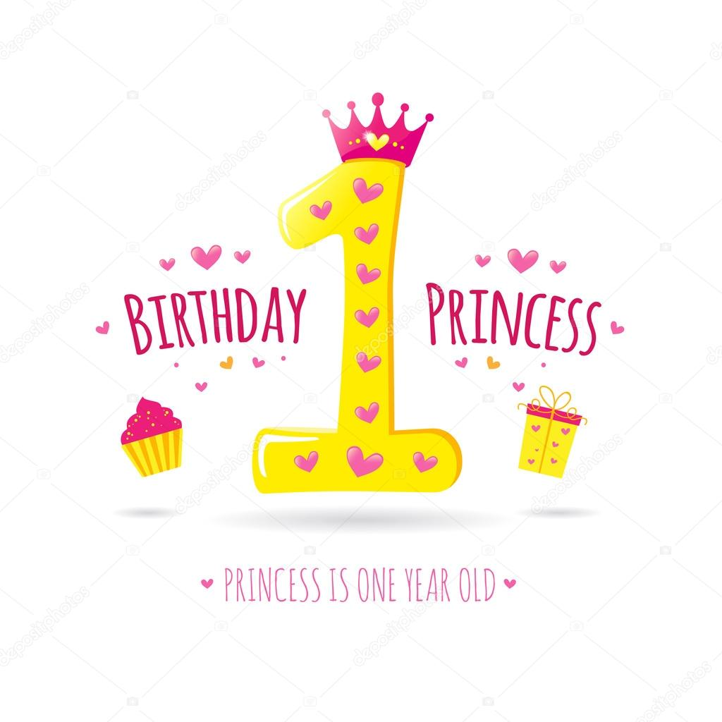 Happy first birthday stock vector garog 90057356 happy first birthday greeting card for your princess vector vector by garog kristyandbryce Images