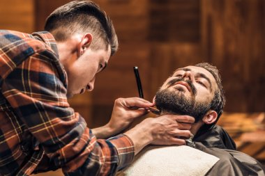 Shaving process of beards in Barbershop