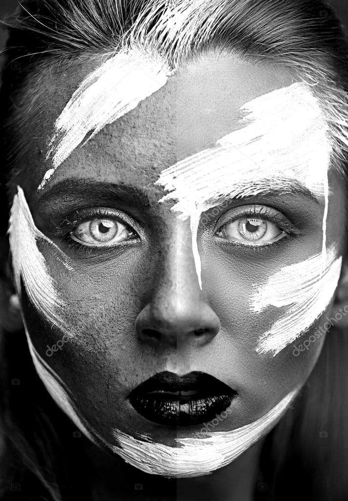Process of photo retouching black and white portrait stock photo