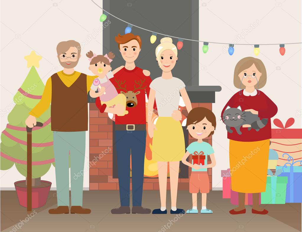 Vektor-Illustration von Weihnachten Familienporträt — Stockvektor ...