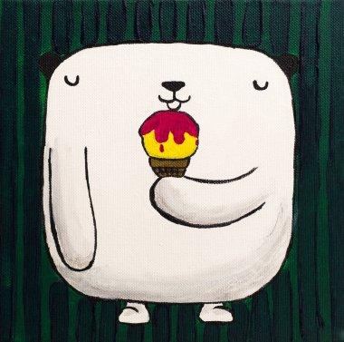 """Картина, постер, плакат, фотообои """"белый плюшевый мишка с мороженым картина"""", артикул 86983214"""