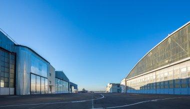 The area between aircraft hangars