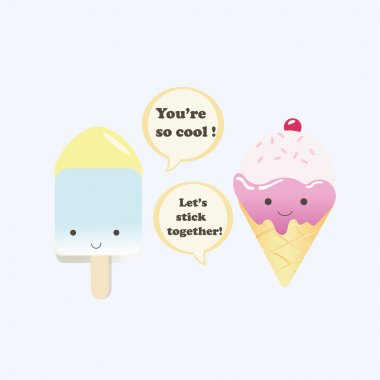 Vector illustration of a couple ice creams