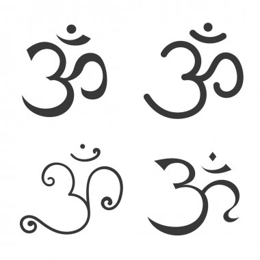 Sign Om vector. Hand drawn symbol of Buddhism and Hinduism religions stock vector