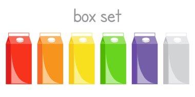 Box set juice liquid milk variegated logo print icon