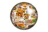 Světové kuchyně koláž Globe