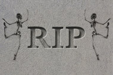 Engraved Gravestone RIP Skeleton