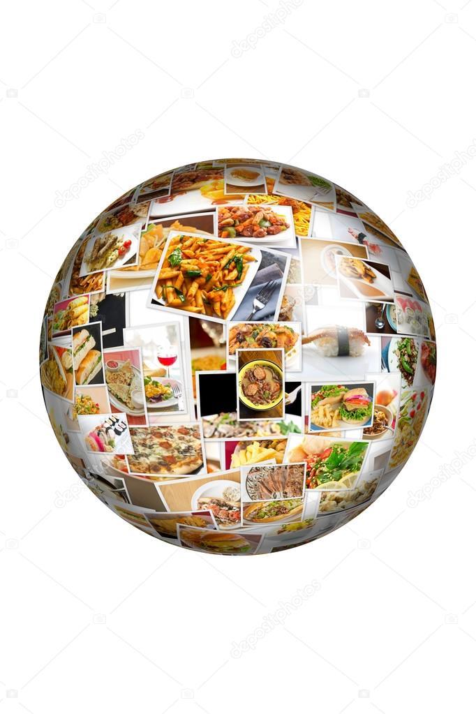 Globo del mondo cucina Collage — Foto Stock © ezumeimages #81907810