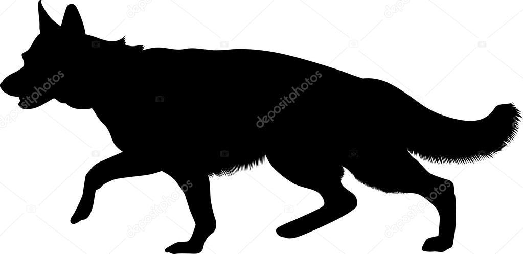 animal German Shepherd, black silhouette home pet