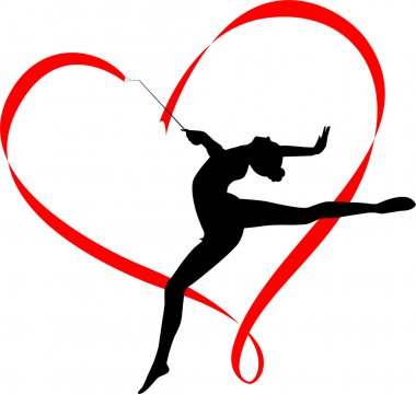 Silhouette of rhythmic gymnast