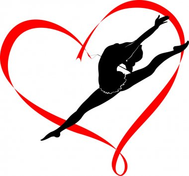 Gymnast girl with stripe in shape of heart