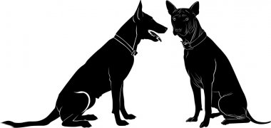 silhouettes of two dogs
