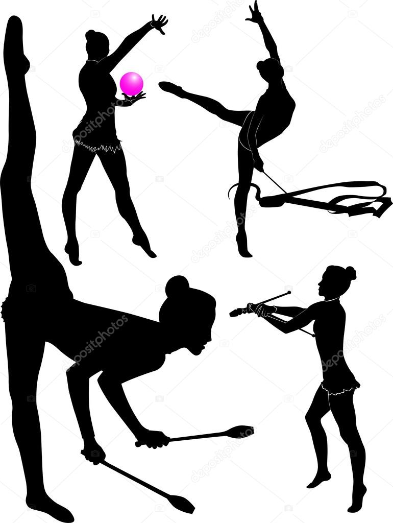 black gymnast silhouettes on white background vector illustration vector by weter777