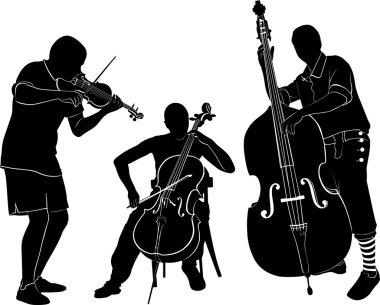 musicians silhouettes illustration
