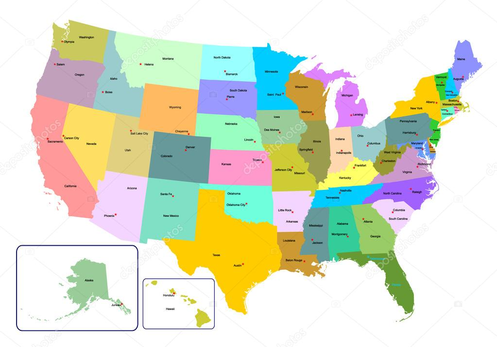 Colorful USA map with states and capital cities. — Stock Vector ...