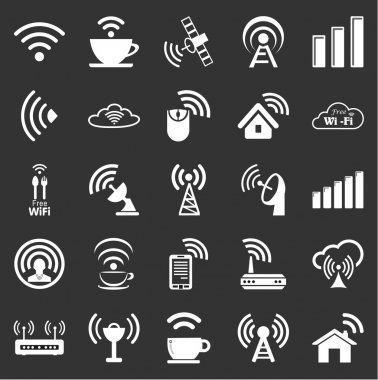 Set of twenty five wifi icons