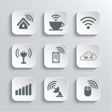 Wireless and Wi-Fi Web Icons Set