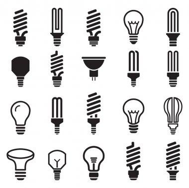 Light bulb and CFL lamp  set icons