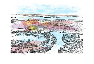 Print Building view with landmark of Cape Coral is a city in southwest Florida. Watercolor splash with hand drawn sketch illustration in vector.