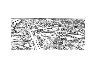 Print Building view with landmark of Cape Coral is a city in southwest Florida. Hand drawn sketch illustration in vector.