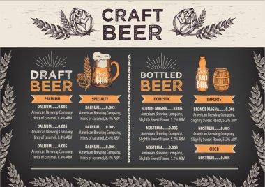 Beer restaurant cafe menu