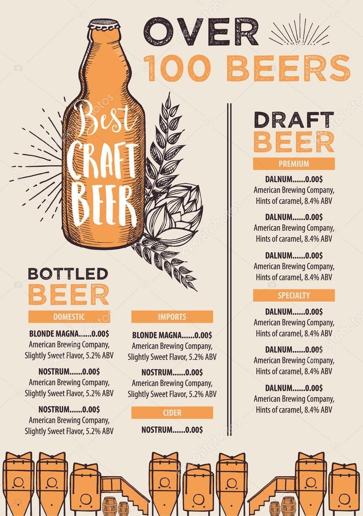 Beer Menu Design Stock Vector C Marchi 101127070
