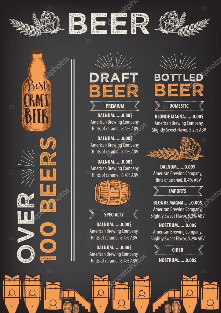 Beer Menu Design Stock Vector C Marchi 101127464