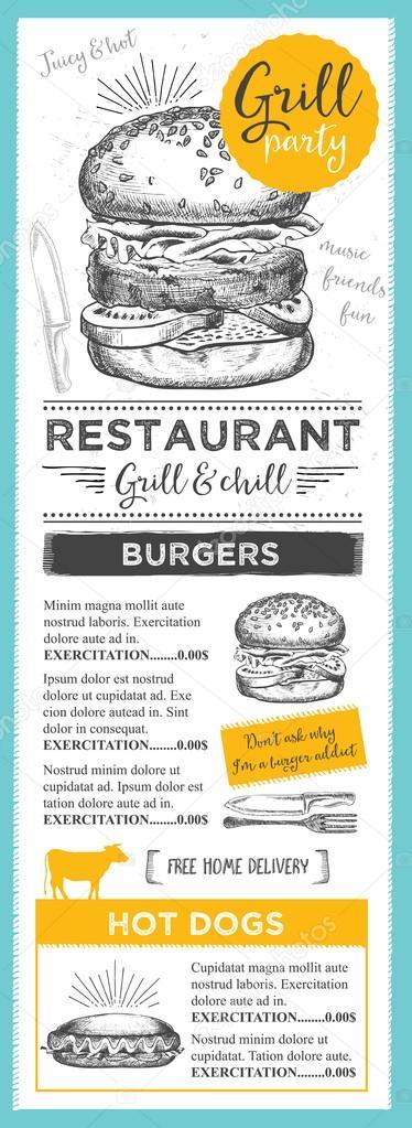Broschüre-Menüvorlage Restaurant — Stockvektor © Marchi #108544196