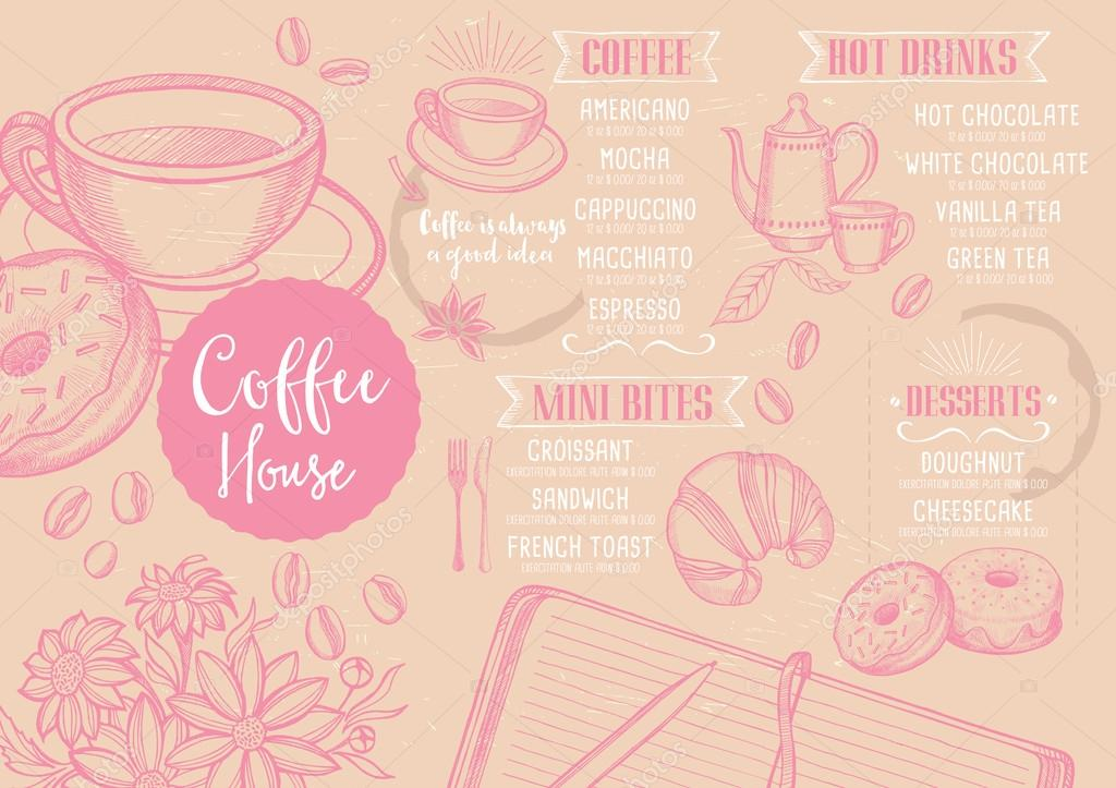 Coffee Restaurant Brochure Template Stock Vector Marchi 108544238
