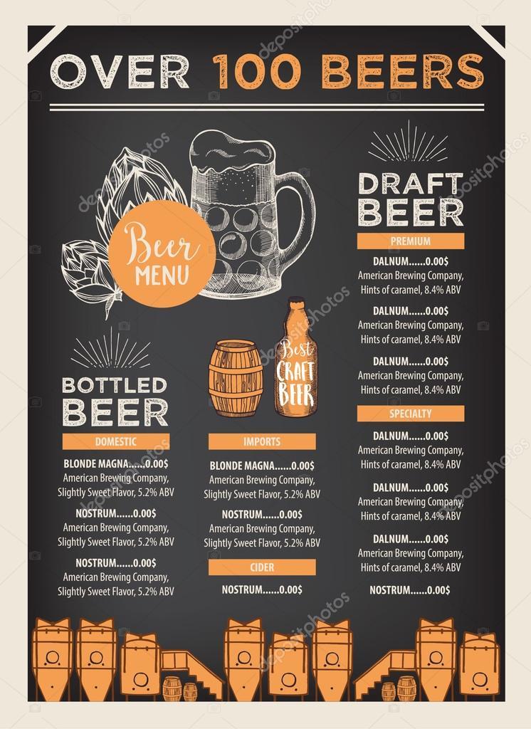 Beer Restaurant Brochure Template Stock Vector Marchi - Restaurant brochure template