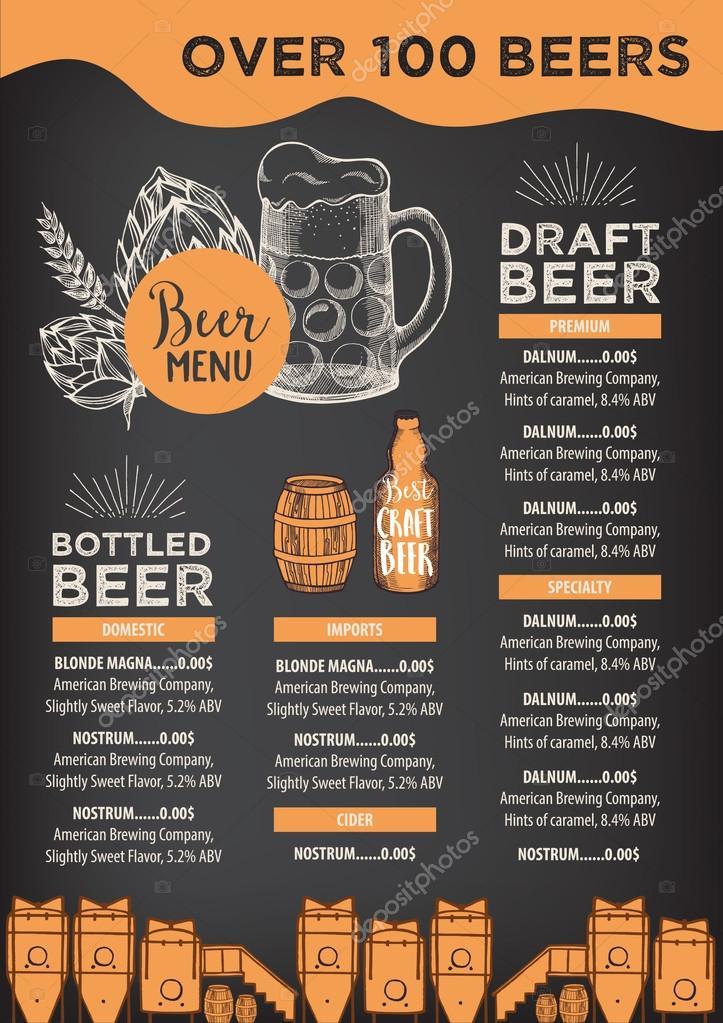 Plantilla de folleto de restaurante de cerveza — Vector de stock ...