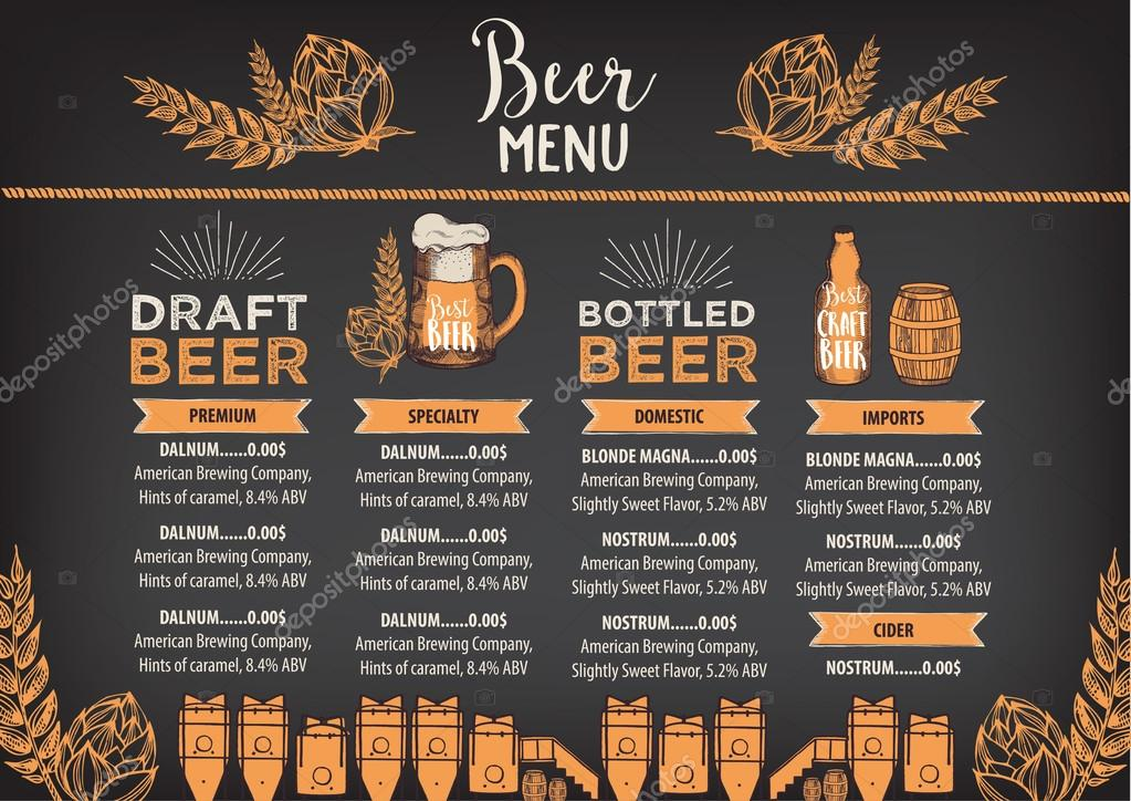 Beer Restaurant Brochure Template Stock Vector Marchi 108544364