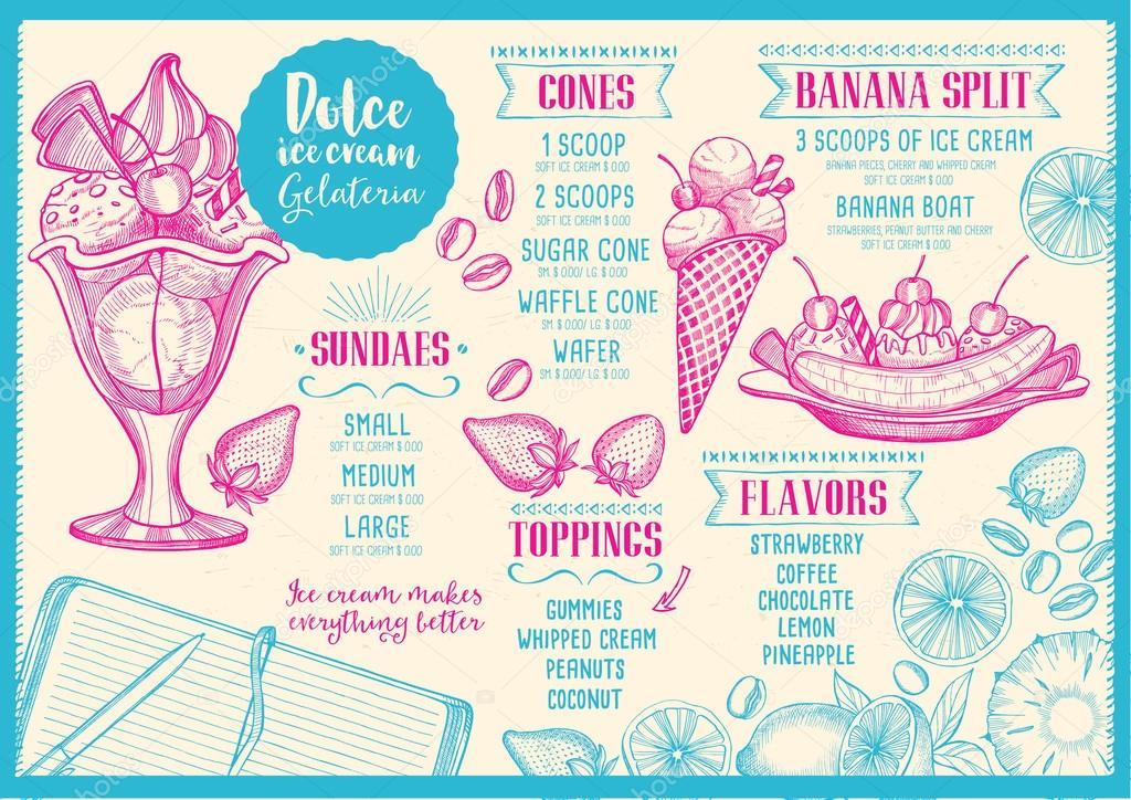 Ice cream menu, restaurant brochure — Stock Vector © Marchi #112321824