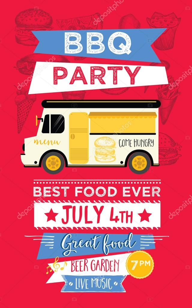 Food truck party invitation. — Stock Vector © Marchi