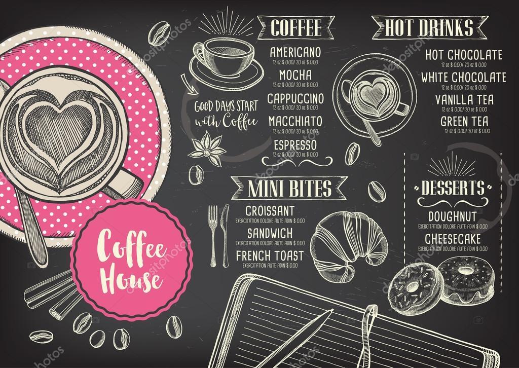 Restaurante cafeter a men dise o de plantillas vector for Disenos de menus para cafeterias
