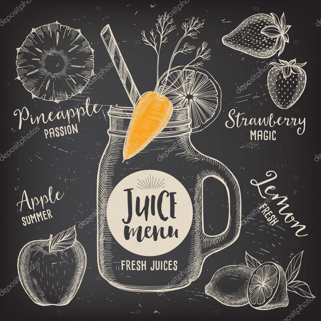 Folleto de jugo menú bebidas restaurante — Vector de stock ...