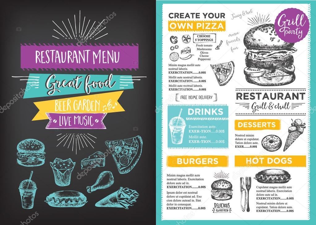 Folleto de restaurante de comida de mantel de menú — Vector de stock ...
