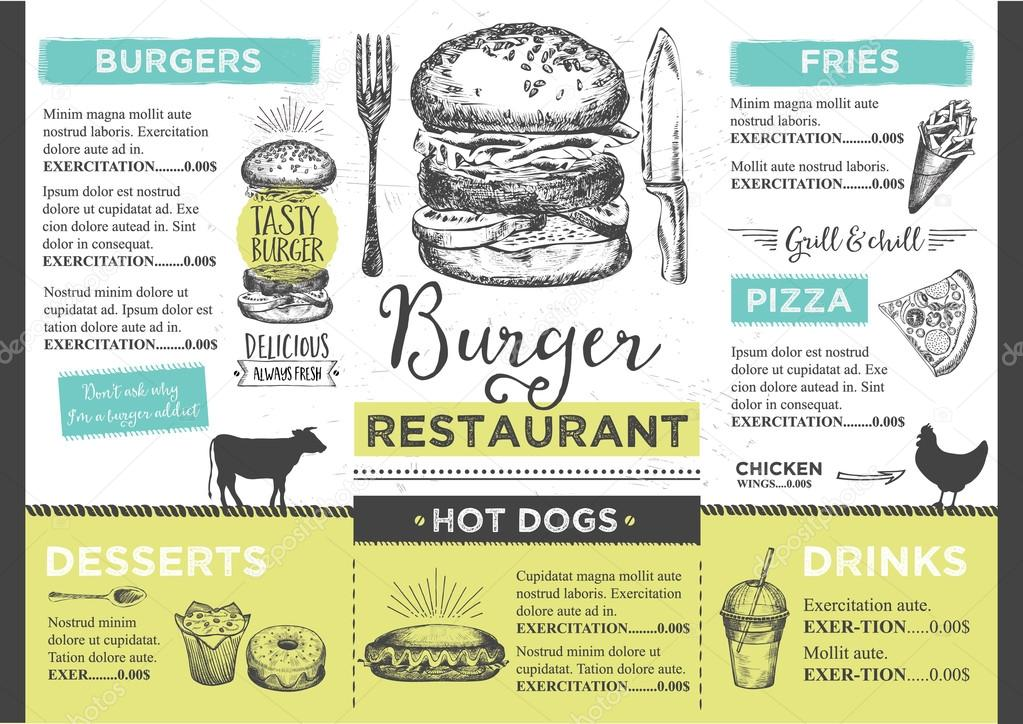 Menü Tischset Essen Restaurant Broschüre — Stockvektor © Marchi ...