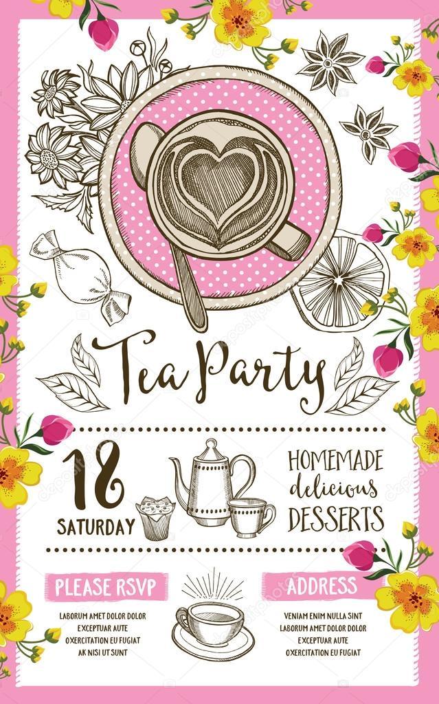 tea party invitation template design vetores de stock marchi