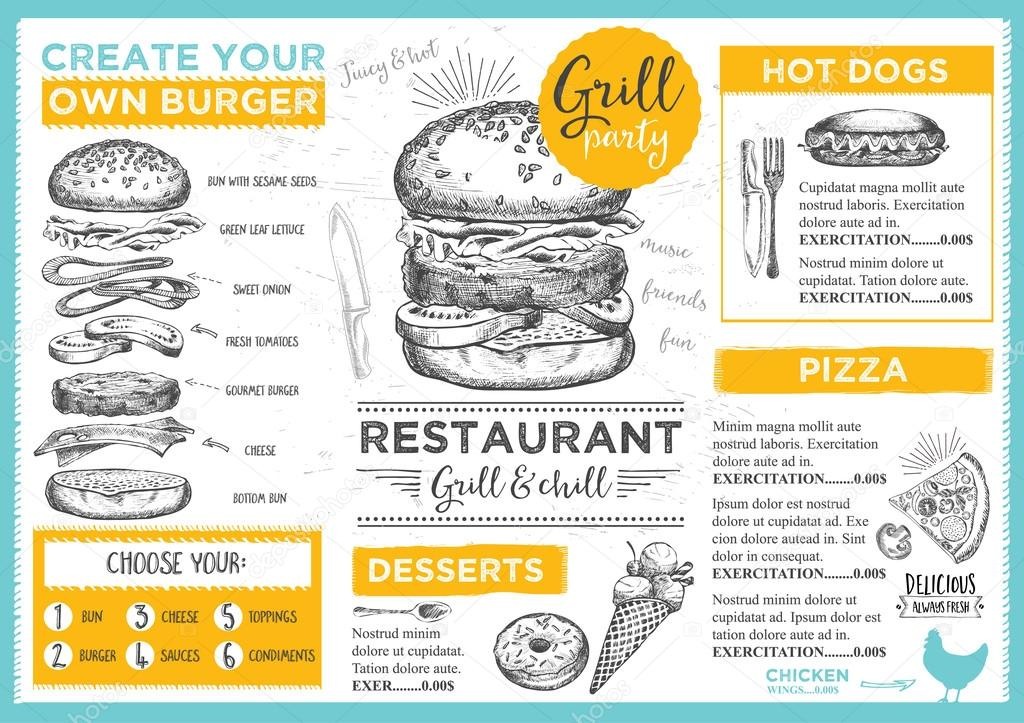 Folleto de restaurante de comida de mantel de menú — Vector de ...