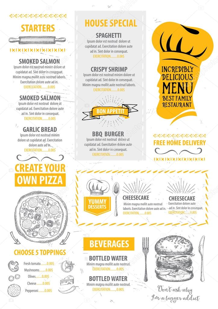 Restaurant Cafe Menu Template Design  Stock Vector  Marchi