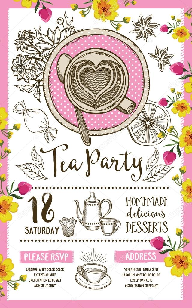 Tea party invitation template design vetores de stock marchi tea party invitation template design vintage creative dinner invitation with hand drawn graphic vector food menu flyer vetor de marchi stopboris Images