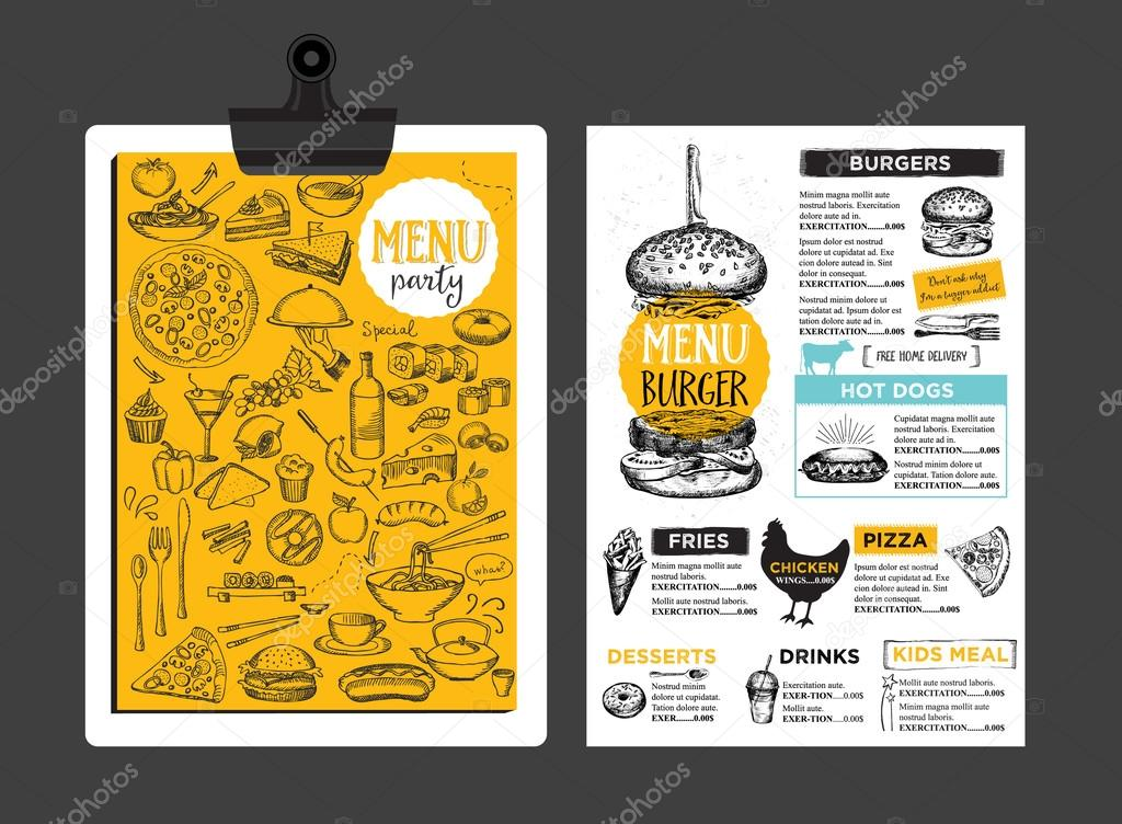 Restaurant Cafe Menu Template Design Stock Vector Marchi - Delivery menu template