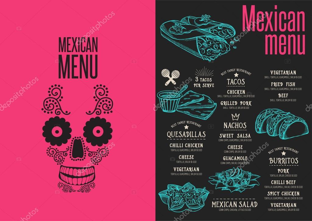 Mexikanisches Restaurant Menü, Vorlage — Stockvektor © Marchi #124304842