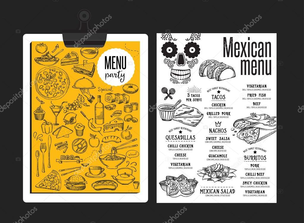メキシコ料理のレストラン メニュー テンプレート ストックベクター