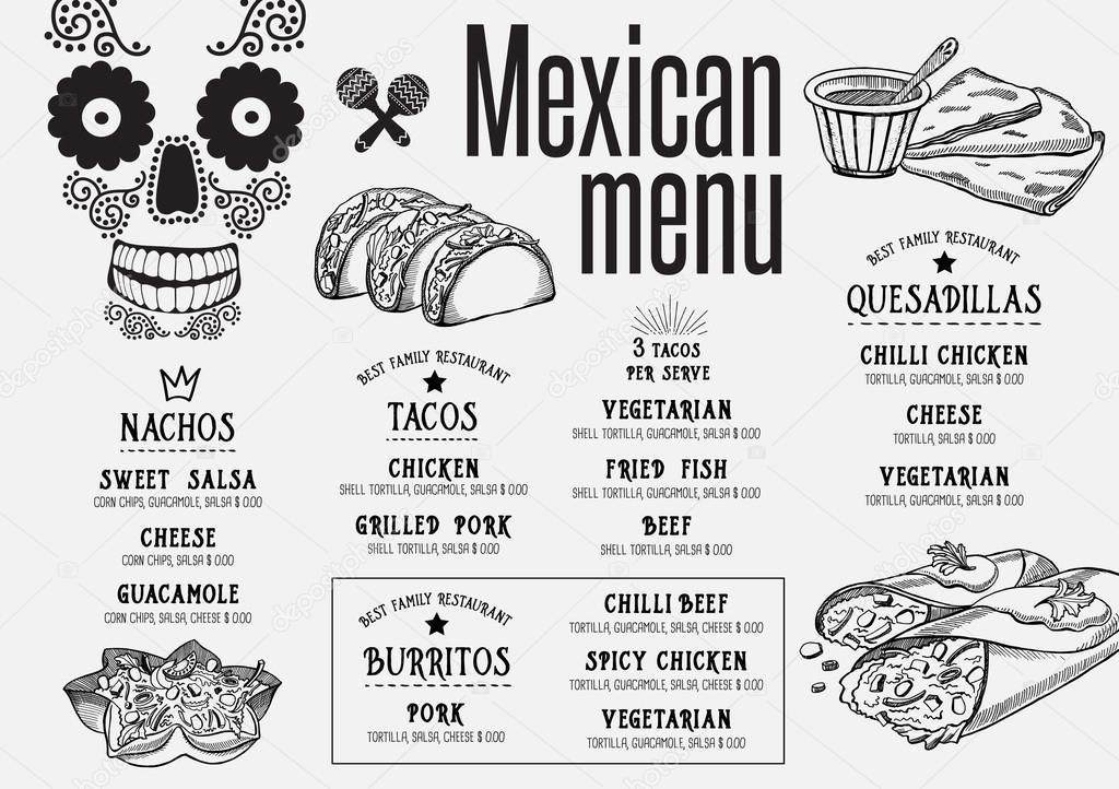 Mexikanisches Restaurant Menü, Vorlage — Stockvektor © Marchi #124304942