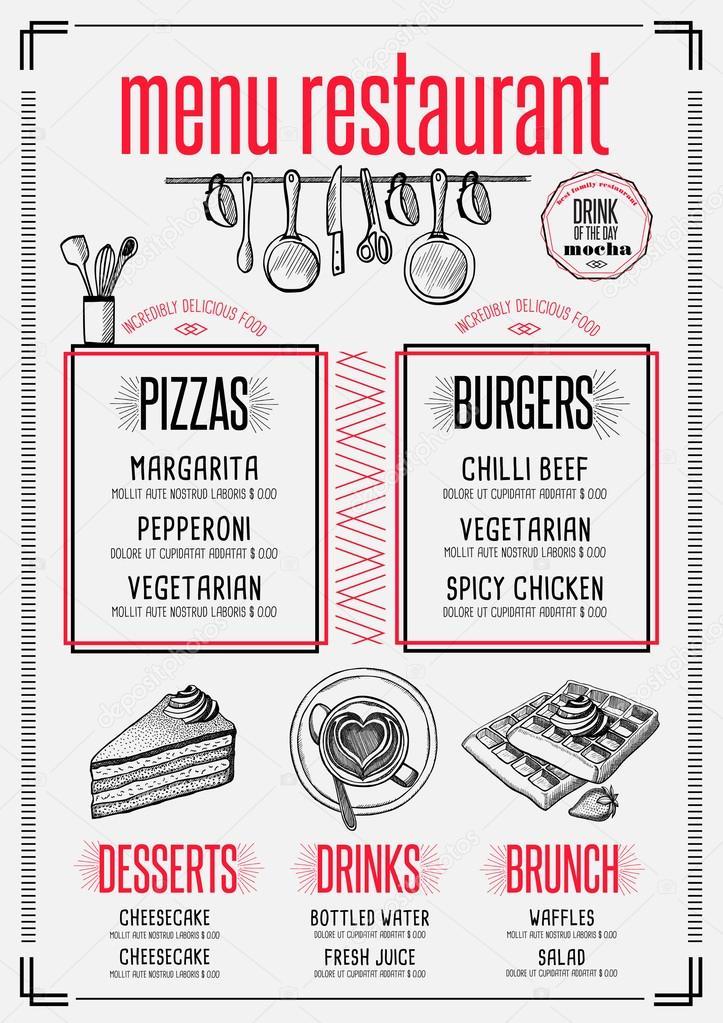 Speisekarte Restaurant, Essen Vorlage — Stockvektor © Marchi #124305504